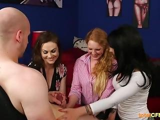 Hot Babes Catch Him Masturbating