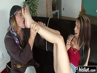 Callie Cyprus Jerks A Cock With Her Feet Before She Gets Fucked Roughly