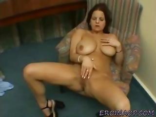Damn Sexy Raven College Girl With Huge Natural Boobs Wildly Masturbates
