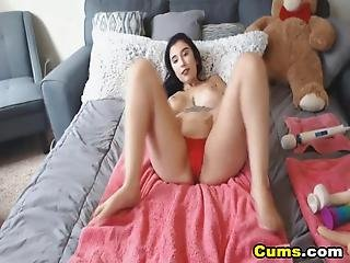 Busty Cam Babe Fuck Pussy And Ass Using Dildo