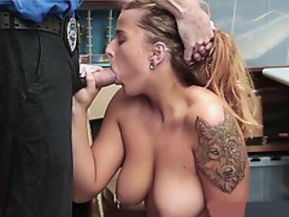 Busty Teen Thief Gets Fucked With A Cucumber By A Cop