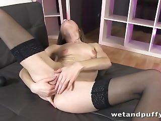 Sexy Darling In Black Stockings Gets So Nasty