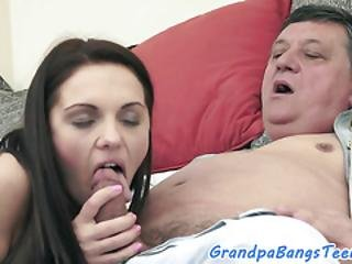 European Babe Spoon Fucked By Grandpa