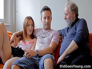 Old Goes Young - Sveta And Her Man Are Casually Laying Around Their Living Room