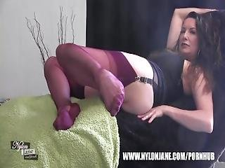 Kinky Milf Nylon Jane Teases Fully Incased Long Nylon Clad Legs For Worship