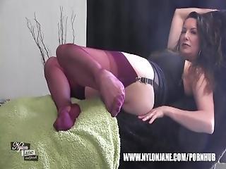 Kinky Milf Nylon Jane Teases Fully Incased Long Nylon Clad Legs For Worship