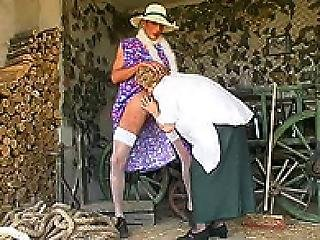 Dorothy Guy In Dress And Nylons Nails Old Busty Granny In A Barn