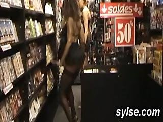 3 Sluts In Shop Flashing And Anal Orgy With Customers