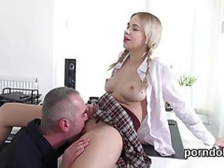 Innocent Schoolgirl Gets Teased And Poked By Senior Lecturer