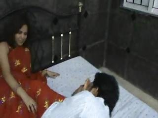 Indian Model In Red Saree Foot Worship