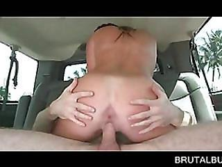 Playful Teen Doing Cock Hardcore On The Back Seat