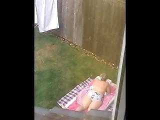 Jerking Off Over Sunbathing Mom