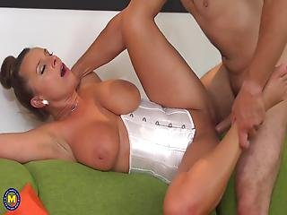 Stunning Mature Mom Pleasing Happy Young Son