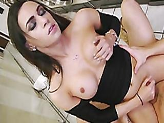 Big Boobs Tgirl Gets Her Anal Screwed In Laundry Area
