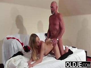 Old Young   Blonde Blowjob And Doggystyle Fuck From Grandpa Young Girl Sex