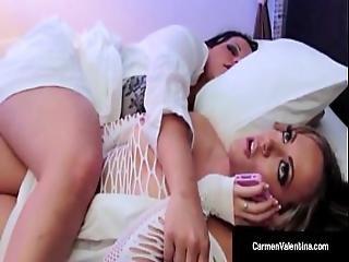Carmen Valentina Masturbates In Bed Next To Angelina Castro