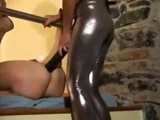 Brunette Babe Huge Strapon Guy Anal Hardcore Femdom Pegging Strap On