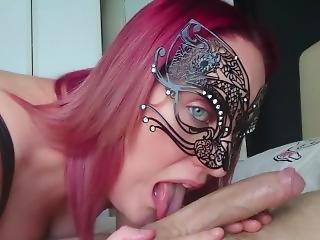 Sexy Masquerade Mask Slut Blowjob And Handjob - Handheld Pov