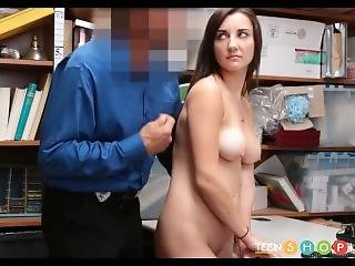 Hot Brunette Teen With Big Natural Tits Caught Shoplifting And Fucked