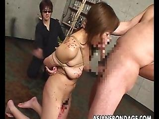 Asian Slut Has A Cock To Suck As She%27s Tied Up