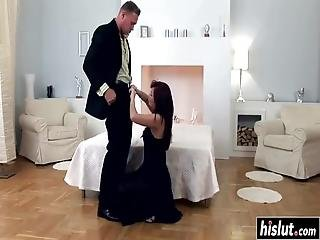 Brunette Girl Pleases More Guys At Once