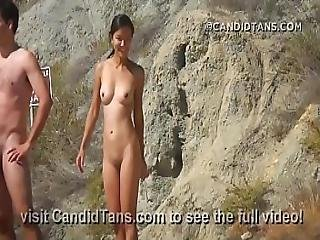 Asian Teen Naked On The Beach Fully Nude In Public Showing Her Smooth Pussy