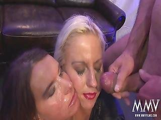 Two Beautiful Women Passionately Fucked By A Crowd