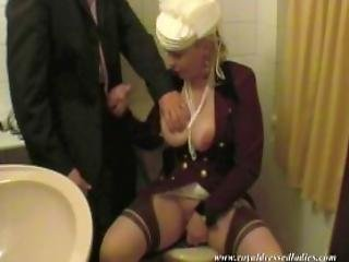 Depraved Lady Masturbate In Toilet Fully Clothed Blowjo