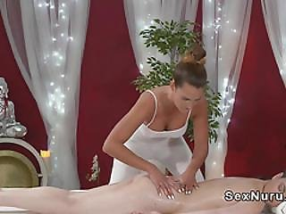 Busty Pale Brunette At Lesbo Massage