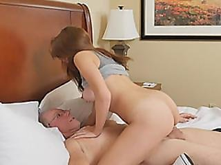 Dirty Old Grandpa Gets Lucky With Sexy Brunette Teen