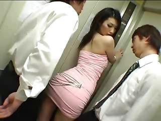Fashion Model In Elevator Hoistway