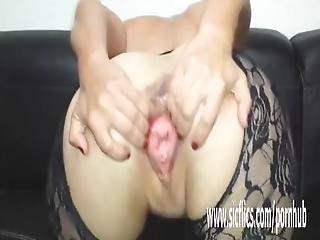 Gargantuan Dildo Fucking Amateur Slut