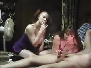 Wife And Daughter Smoking Wank For Daddy