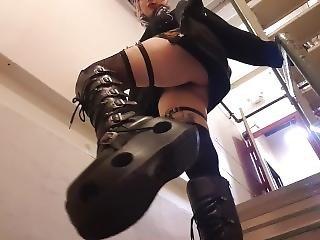 Platform Leather Goth Boots, Upskirt In Public, Giantess Pov