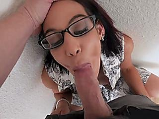 Geeky Busty Stepmother Gives A Sloppy Pov Blowjob