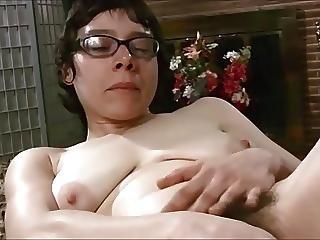 Hairy Nerdy Teen With Small Saggy Boobs Masturbates.