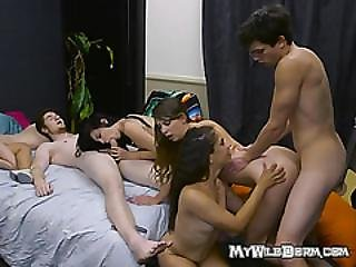 College Babes Share Cocks And Jizz During Sex Party