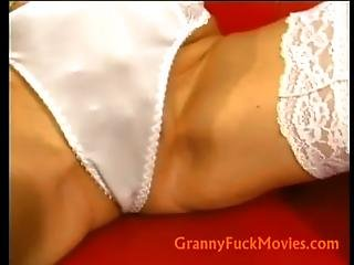Busty Blonde Granny Filling Her Plump Pussy With A Young Dick