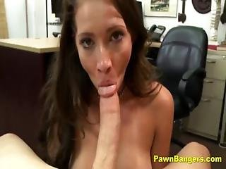 Amateur, Babe, Backroom, Blowjob, Brunette, Cash, Desk, Fucking, Milf, Pov, Reality, Sucking, Tattoo