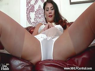 Brunette Big Tits Roxy Mendez Strips To Lingerie Garter Nylons Heels Panties Aside Fingering Pussy