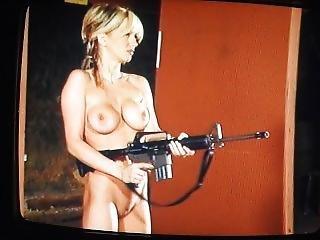 Pretty Blonde Firing Guns (again).