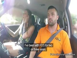 Alt Brunette Fucks In Fake Driving School
