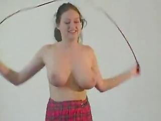 Beauty Girlfriend - Busty Rope Jumping