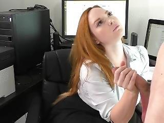 Femdom Boss Edges Pervert Employee W Handjob Dirty Talk Tease