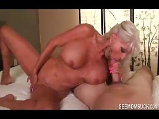 Granny Sucks Young Cock Dry