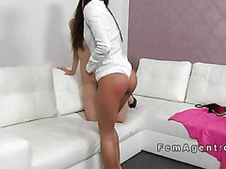 Tanned Female Agent Licks Busty Babe