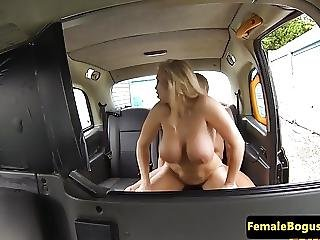 Busty British Cabbie Cockriding Backseat Guy