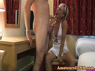 Cocksucking Cfnm Babe Dominates Her Sub