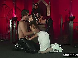 Mistress Plays With Her Slave Lovers
