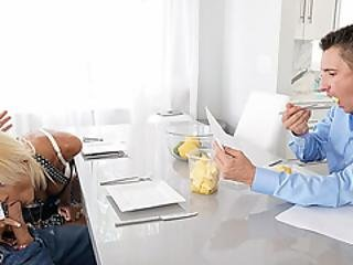Olivia Sucks Stepsons Cock At The Table